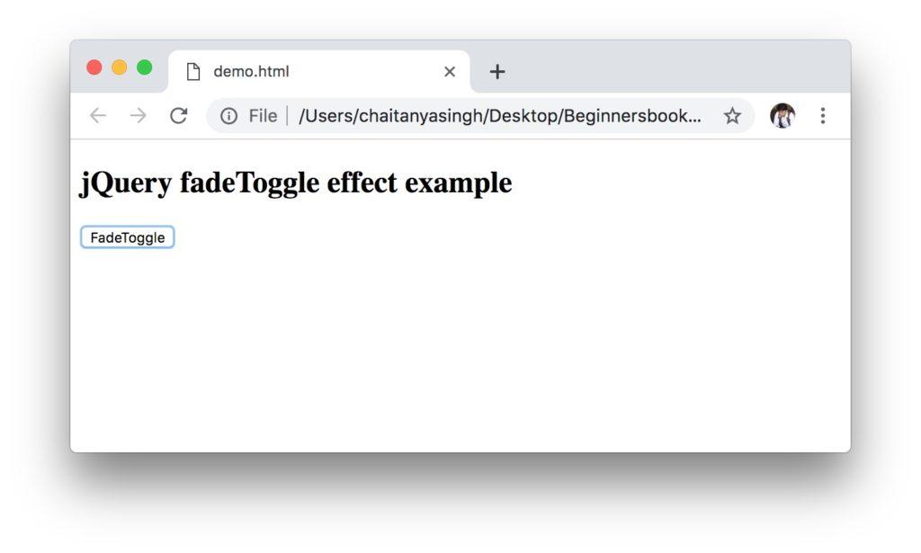 jQuery fadeToggle method