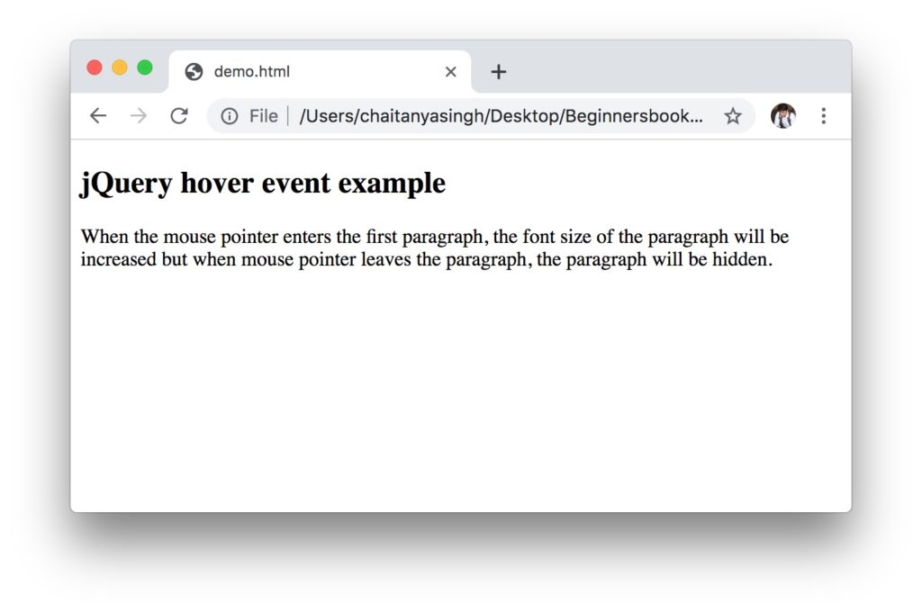 jQuery hover event example