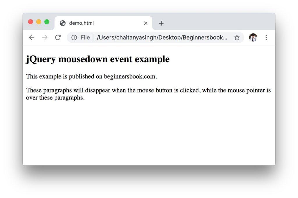 jQuery mousedown Method