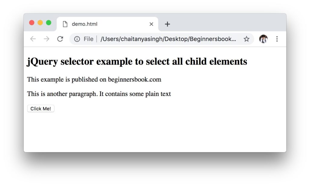 jQuery Selectors example: * selector example