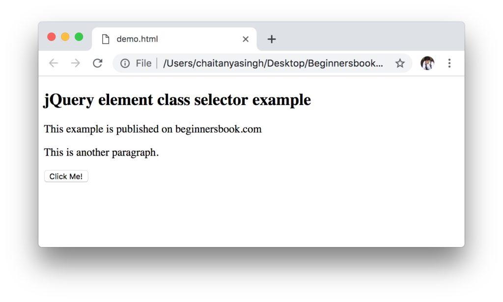 jQuery Selectors element class example