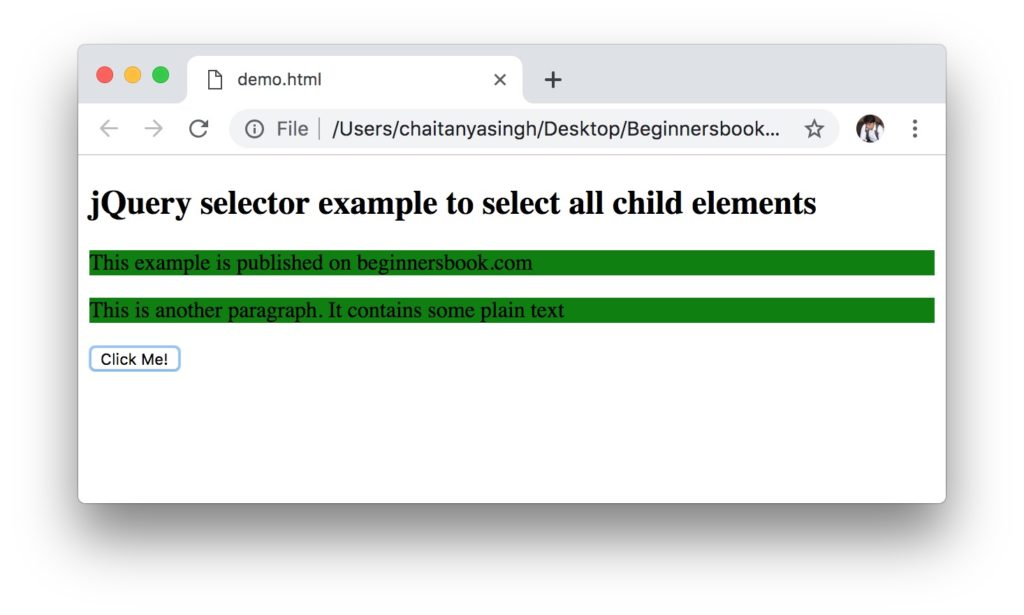 jQuery Selectors example: selecting all child elements example