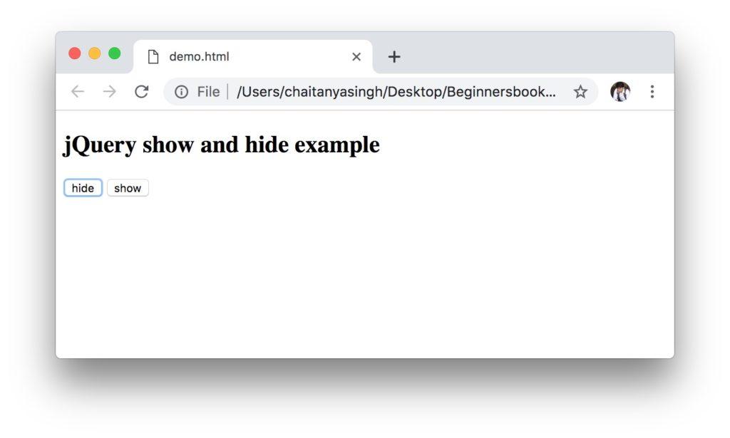 jQuery show method
