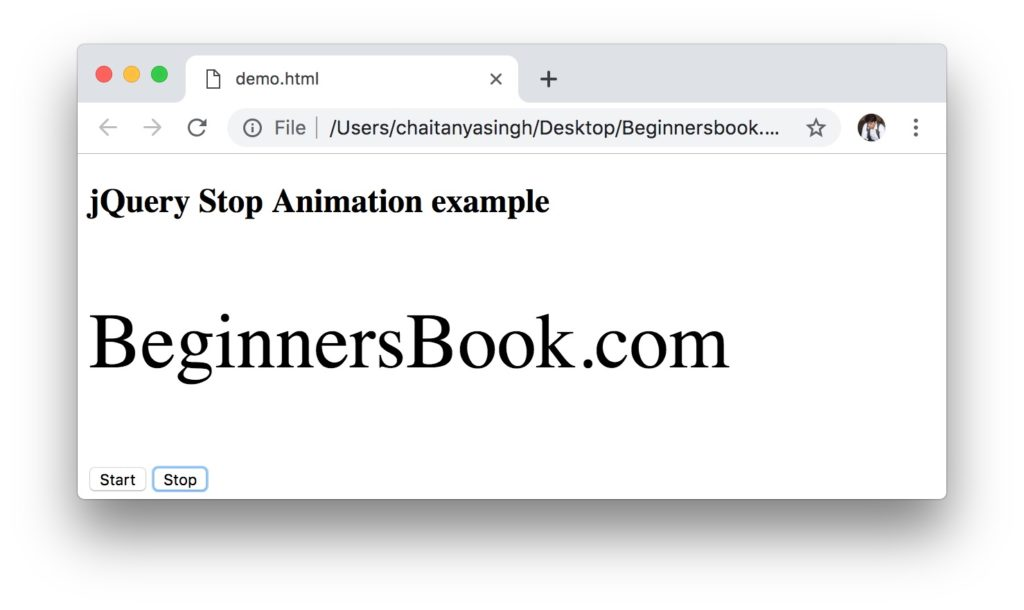 jQuery stop animation example