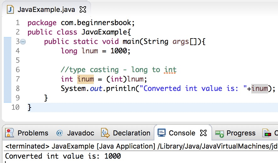 Java long to int example