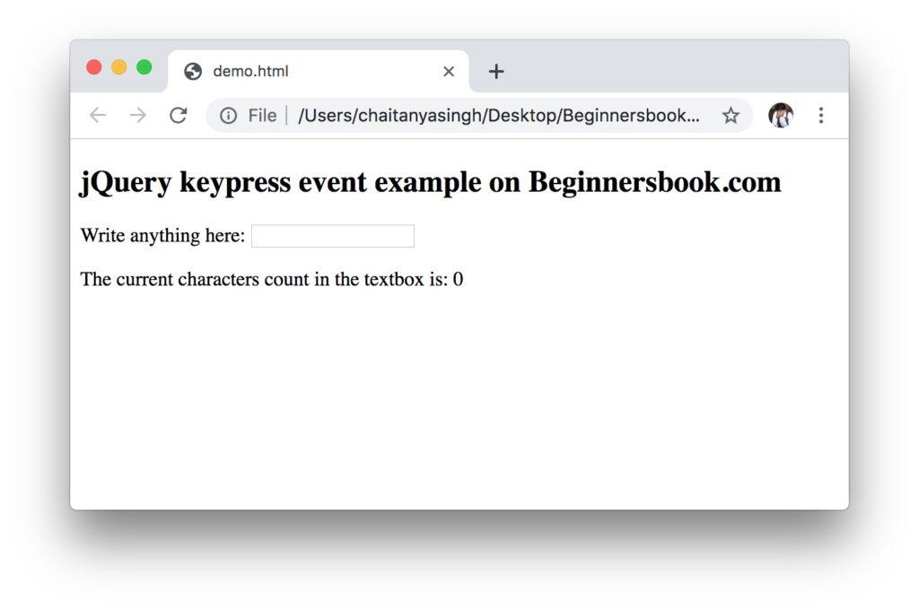 jQuery keypress