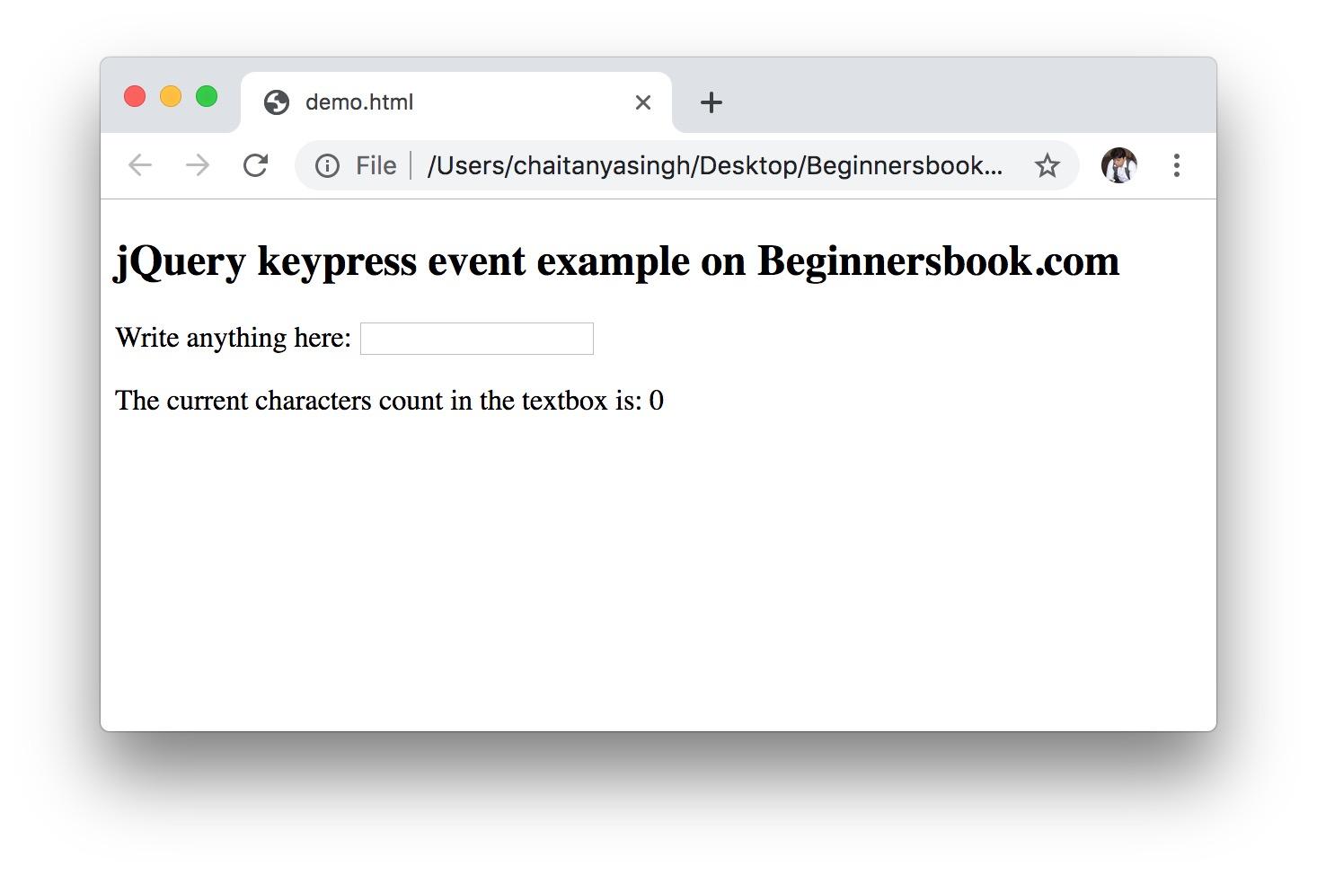 jQuery keypress() Method