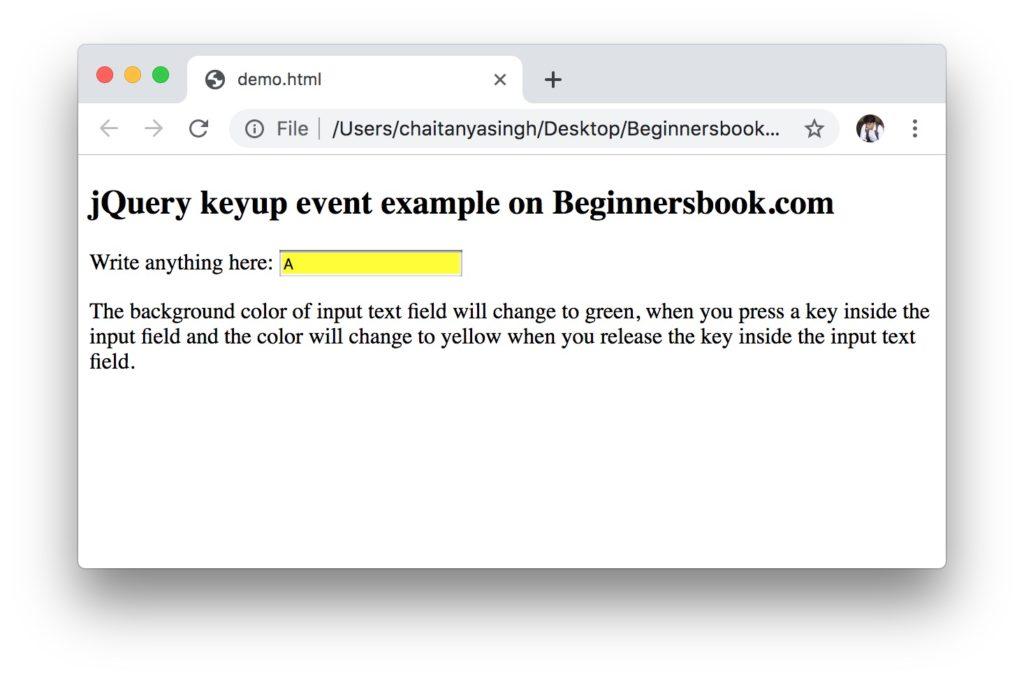 jQuery keyup event