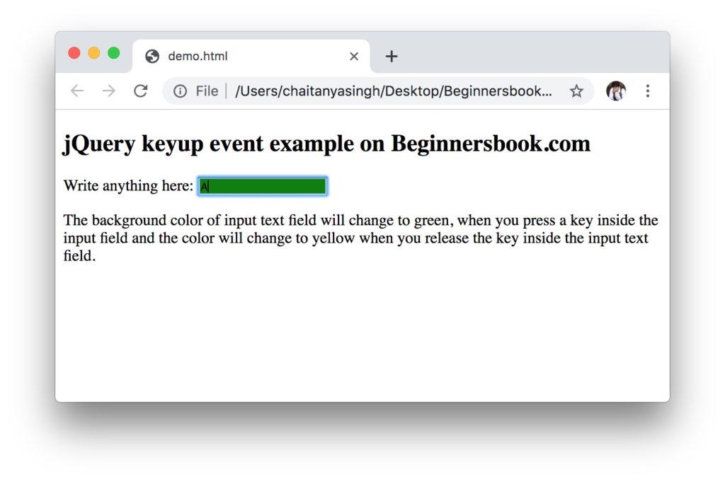 jQuery keyup method