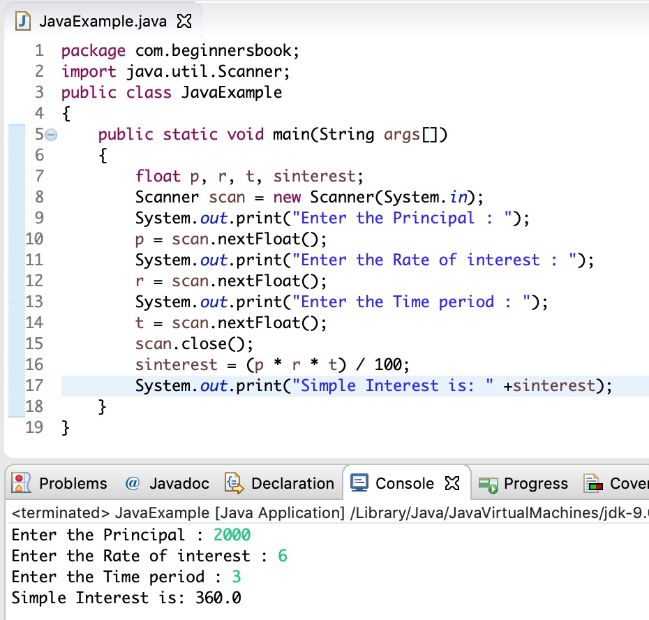 Java Program to calculate simple interest