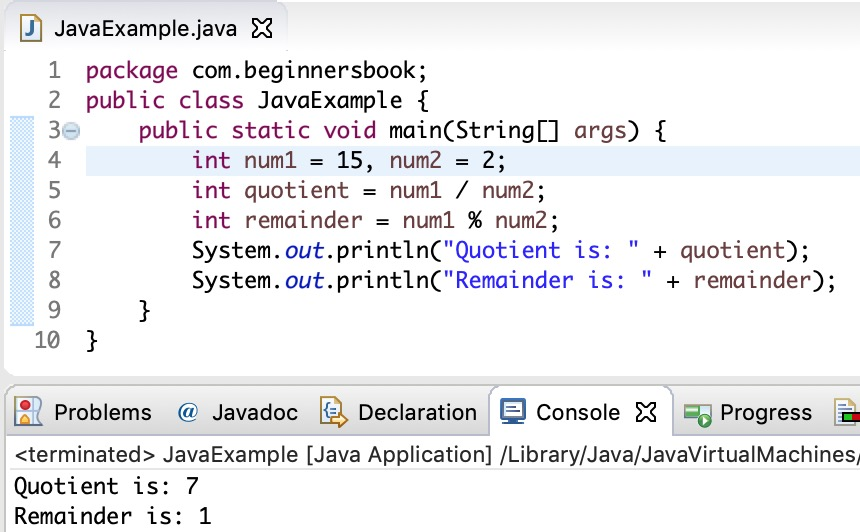 Java Program to Find Quotient and Remainder